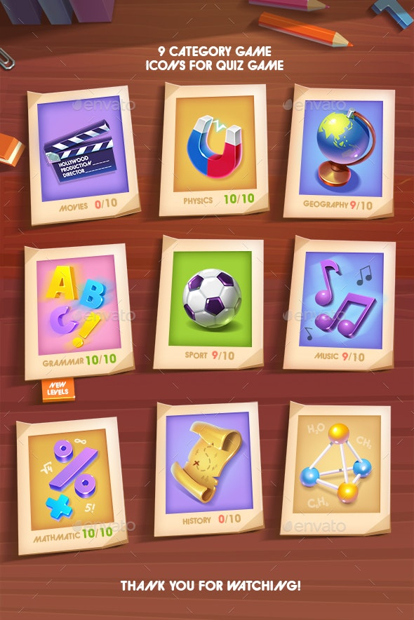 Quiz 9 Categories Game Icons - Miscellaneous Game Assets