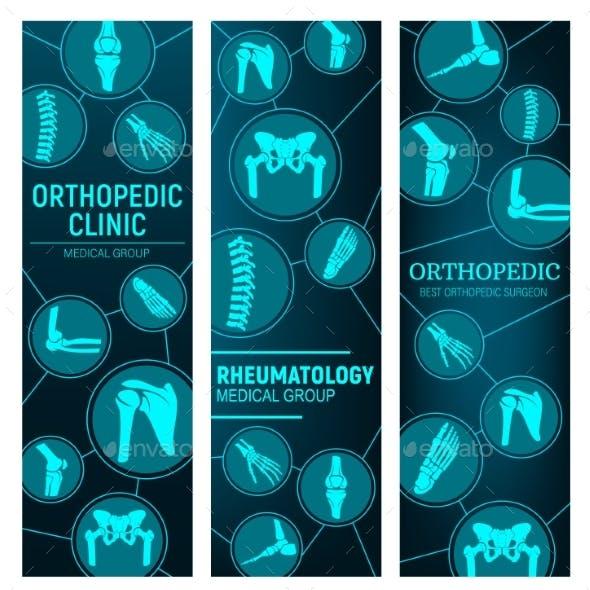 Orthopedics, Rheumatology Medicine Vector Banners