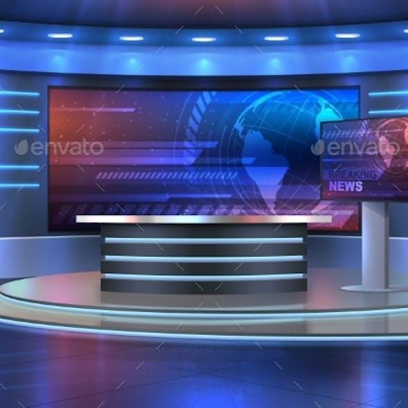 Studio Interior for News Broadcasting, Empty Room