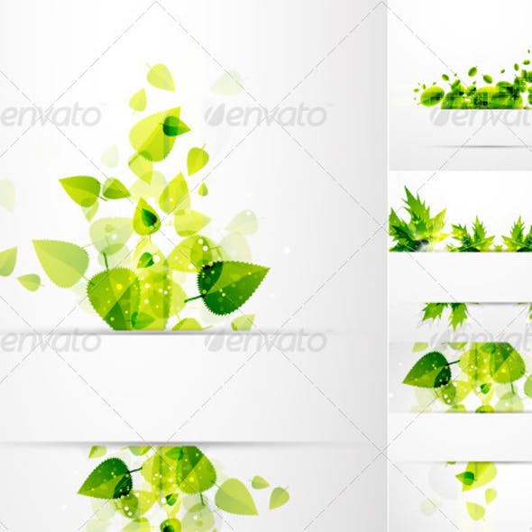 Vector Green Leaves Nature Banners