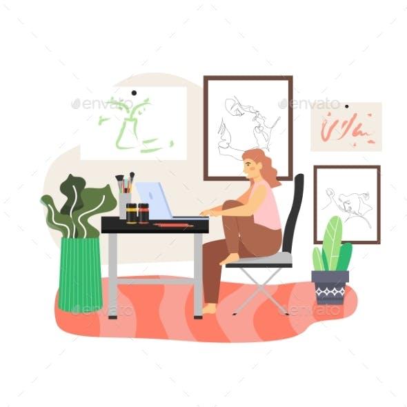 Happy Girl, Freelance Artist Working on Computer