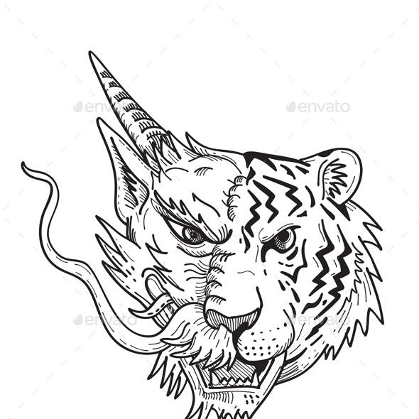 Drawing sketch style illustration of a head of a half Chinese dragon half Bengal tiger viewed from f