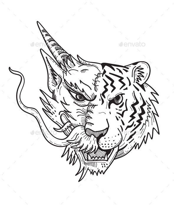 Drawing sketch style illustration of a head of a half Chinese dragon half Bengal tiger viewed from f - Animals Characters