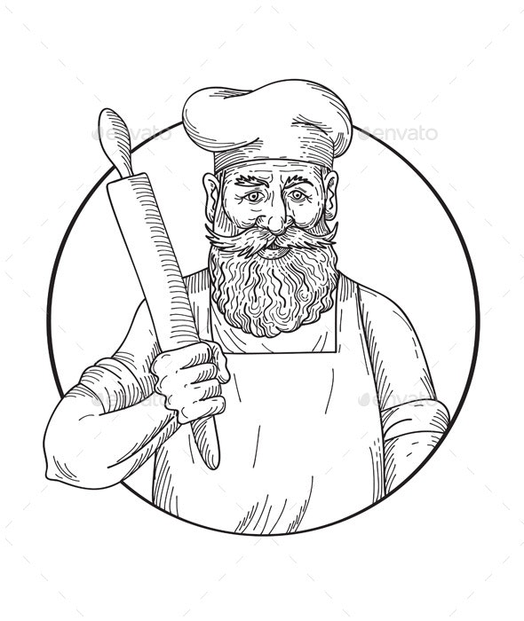 Hipster Baker with Full Beard Holding a Rolling Pin Front View Drawing Black and White - People Characters