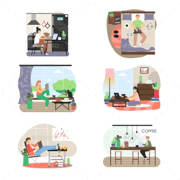 Freelance Set. People Working From Home Office