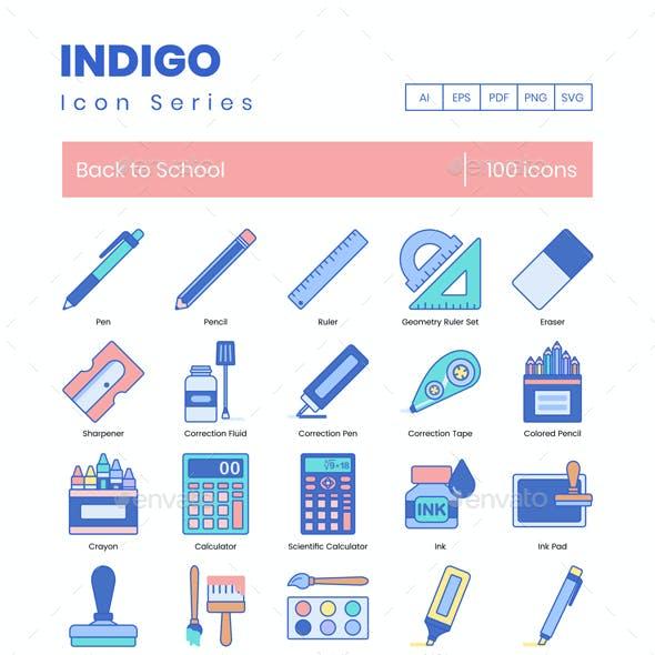 100 Back to School Icons - Indigo Series