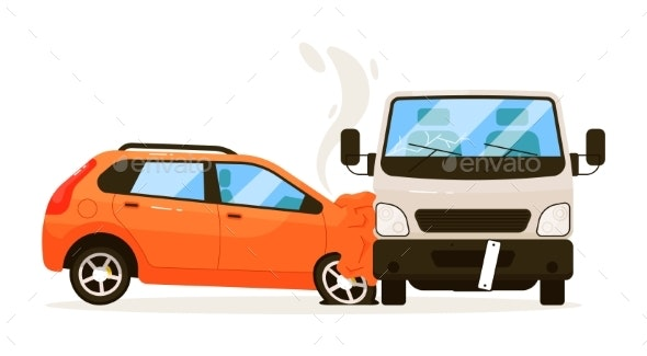 Traffic Collision Isolated on White Background - Man-made Objects Objects