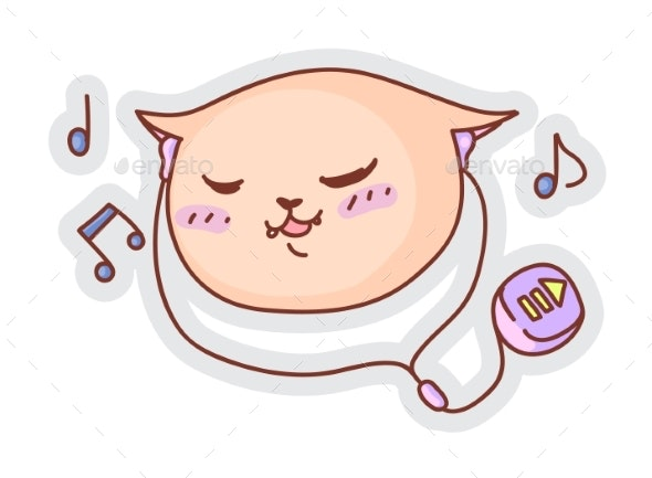 Cat Listening Music Funny Sticker Isolated on - Animals Characters