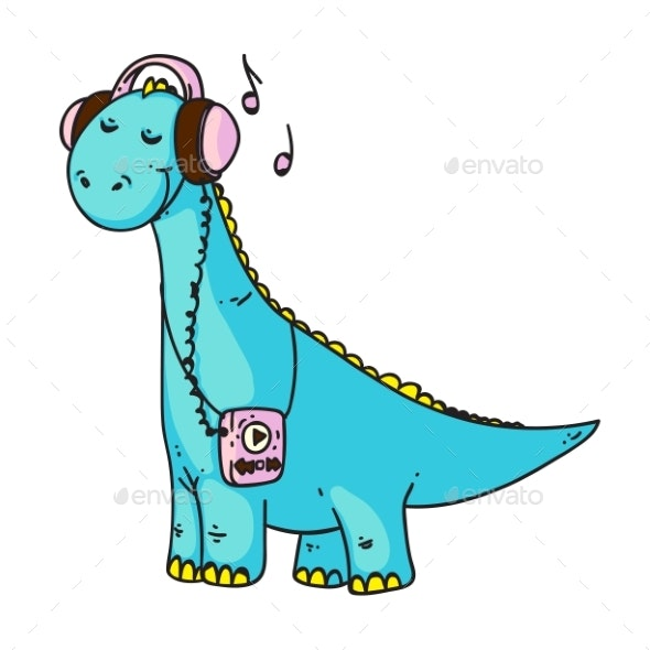 Dinosaur Music Lover Isolated on White Background - Animals Characters