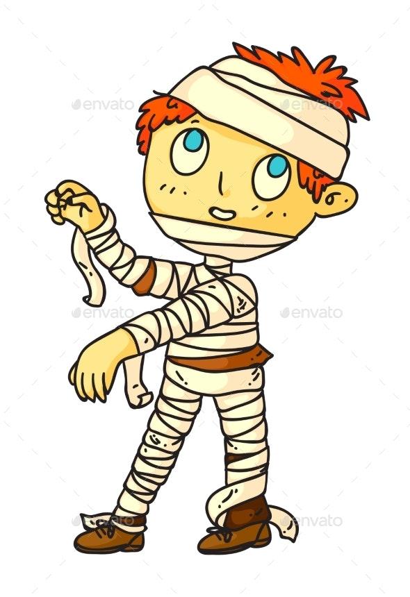 Little Boy Halloween Mummy Isolated on White - Seasons/Holidays Conceptual
