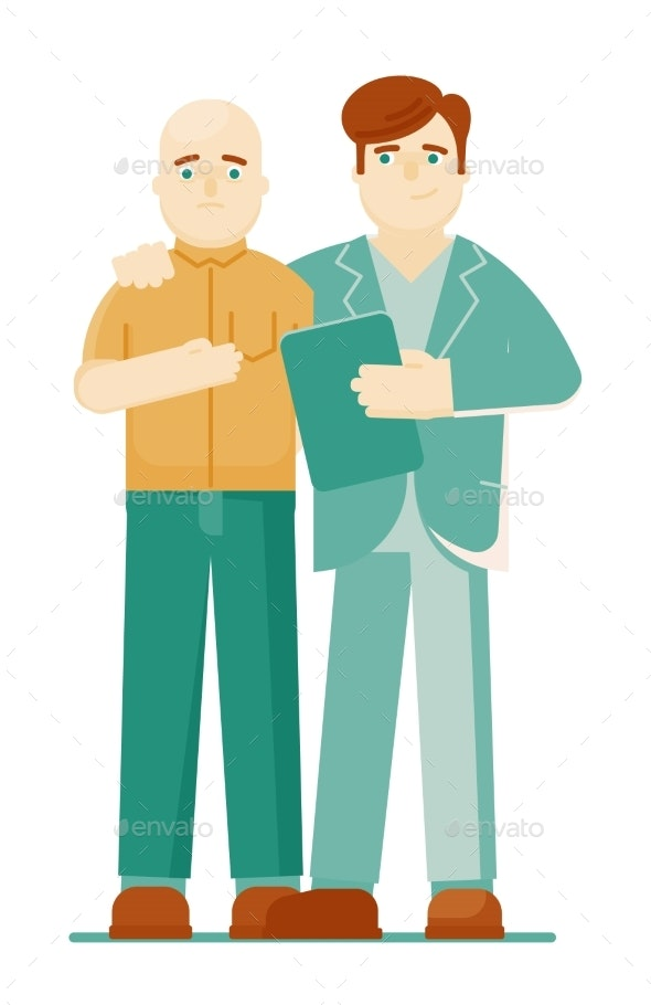 Doctor Oncologist and Patient on White Background - Health/Medicine Conceptual