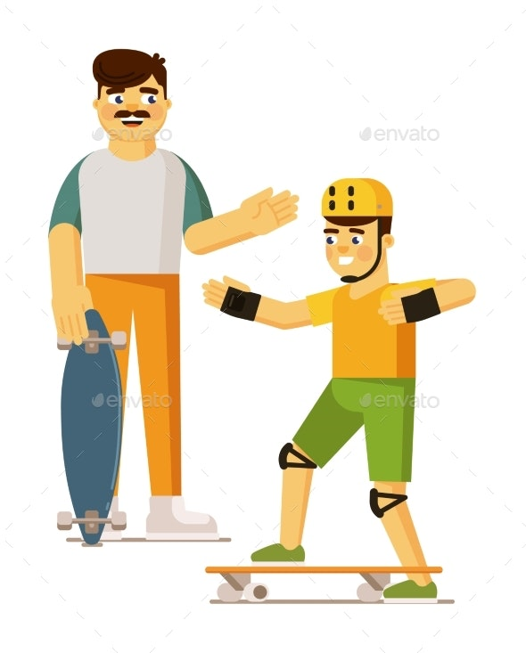 Father Teaching Son Riding Skateboard on White - People Characters