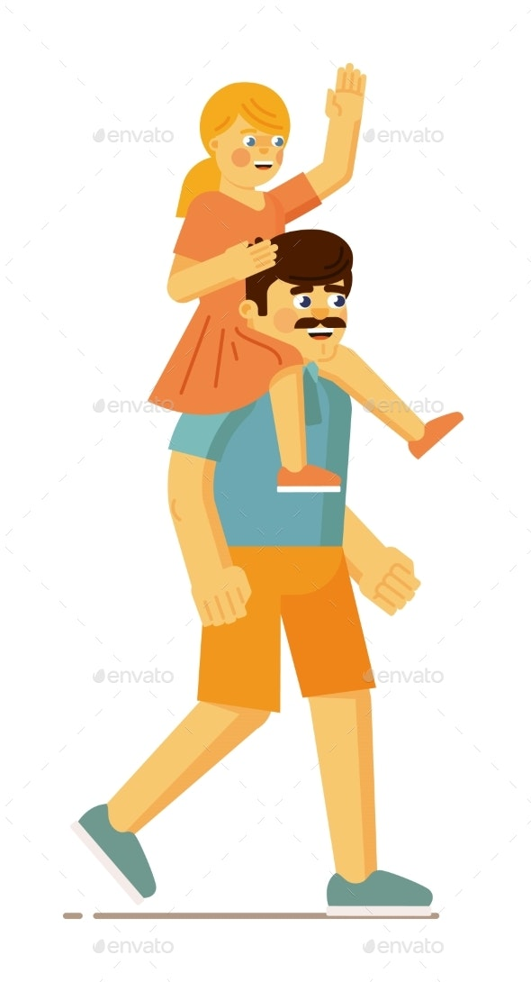 Father Carrying Daughter on Shoulder on Walk - Objects Vectors