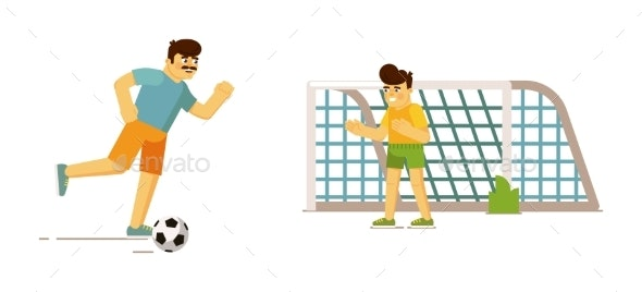 Happy Father and Son Playing Football Together - Sports/Activity Conceptual