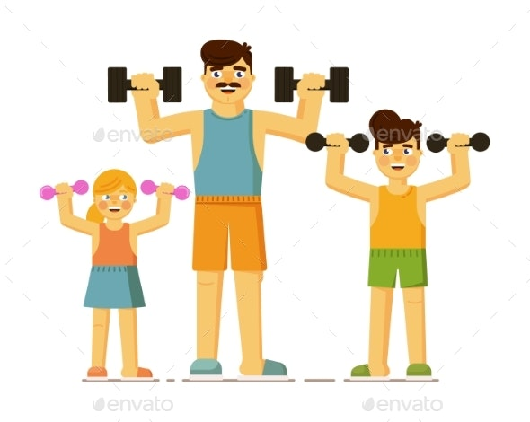 Happy Parent and Children Exercising Together on - Sports/Activity Conceptual