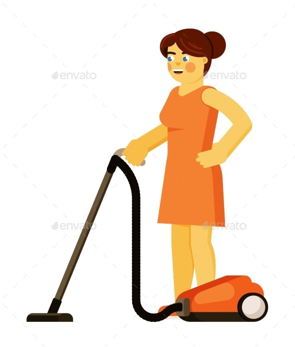 Woman Vacuuming Floor Isolated on White - Objects Vectors