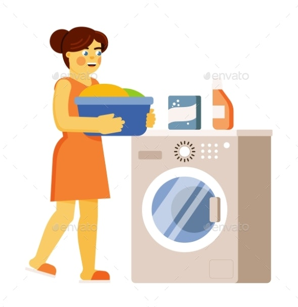 Woman Washing Clothes Isolated on White Background - Objects Vectors