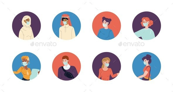 People Wearing Protective Facial Mask Avatar Set - People Characters