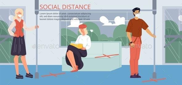 Health Safe Social Distance in Public Transport - Health/Medicine Conceptual