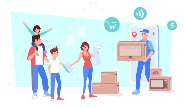 Family Getting Ordered Online Electronics Goods - Miscellaneous Vectors