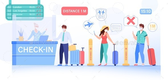 People Safe Social Distance at Airport Check-in - Man-made Objects Objects