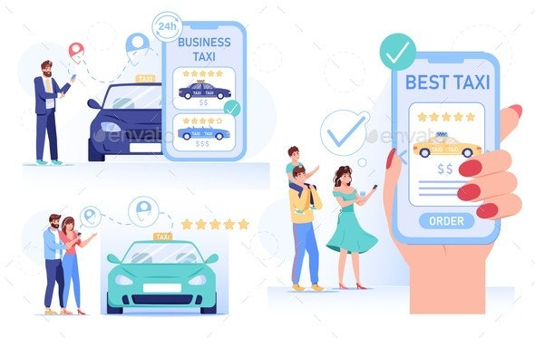 Online Taxi Car Order People Delivery Service Set - Miscellaneous Vectors