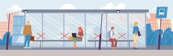 People in Mask Keep Social Distance at Bus Stop - Health/Medicine Conceptual