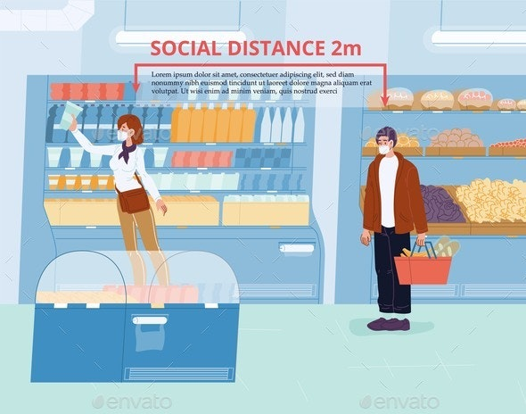 People Social Distancing During Shopping at Shop - Health/Medicine Conceptual