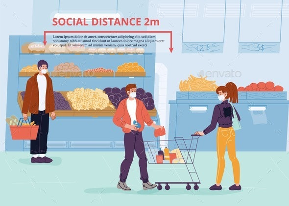 People in Mask Social Distancing at Grocery Shop - Health/Medicine Conceptual
