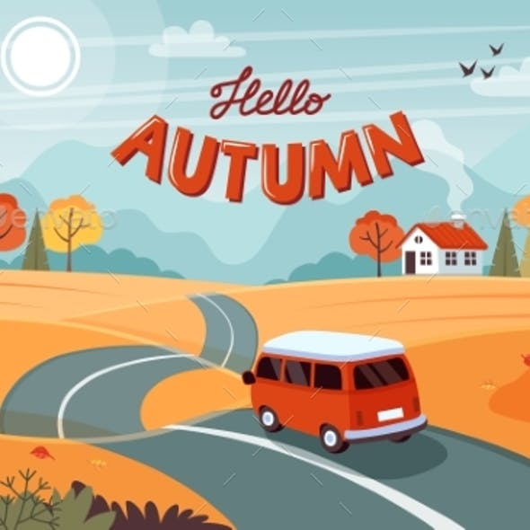 Autumn Trip. Landscape with a Cute Van on the Road