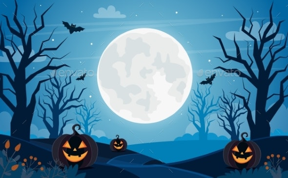 Halloween Background with Full Moon, Pumpkins and - Backgrounds Graphics