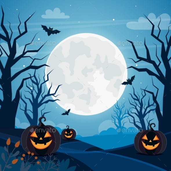 Halloween Background with Full Moon, Pumpkins and