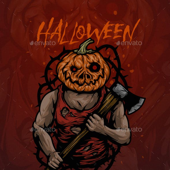 Pumpkin Head with Axe and Thorn Halloween Poster Vector Illustration