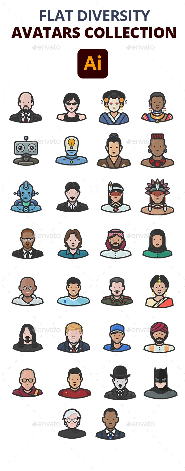 Flat Diversity Avatars Collection - Characters Icons