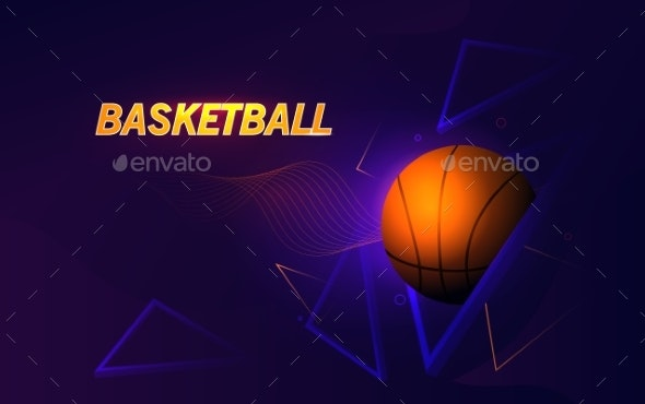Futuristic Banner Dedicated To Basketball Theme - Abstract Conceptual