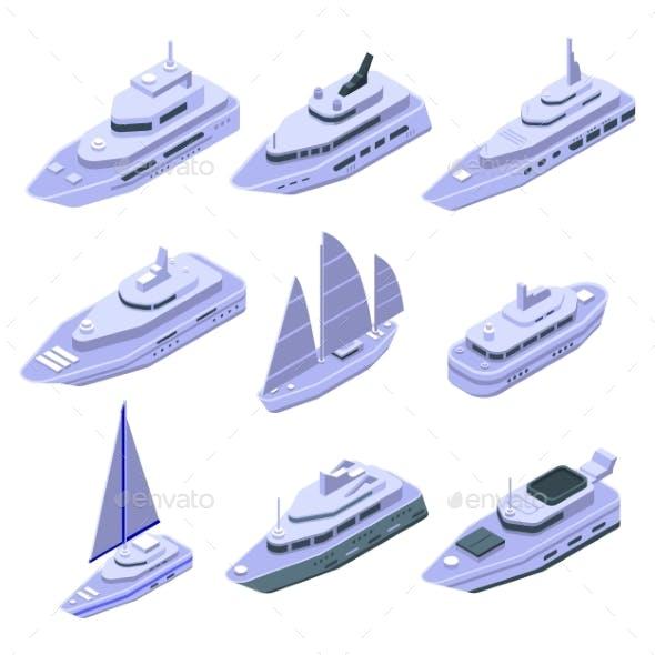 Yacht Icons Set Isometric Style