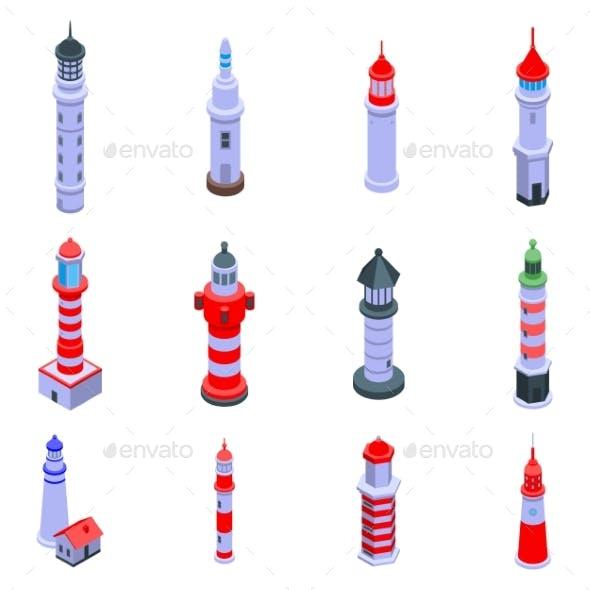 Lighthouse Icons Set Isometric Style