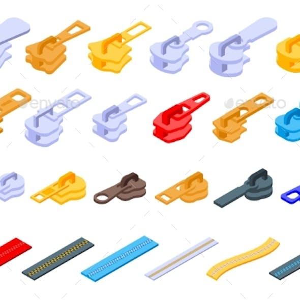 Zipper Icons Set Isometric Style