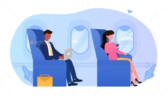Young Business Man Sitting in Comfortable Airplane - Man-made Objects Objects
