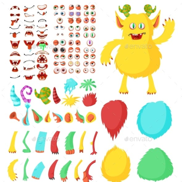 Monster Cartoon Character Constructor Kit
