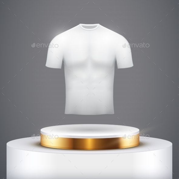 White Presentation Podium with T-Shirt - Man-made Objects Objects
