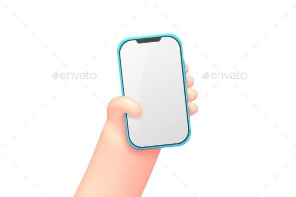 Vector Cartoon Hand with Smart Phone - Miscellaneous Vectors