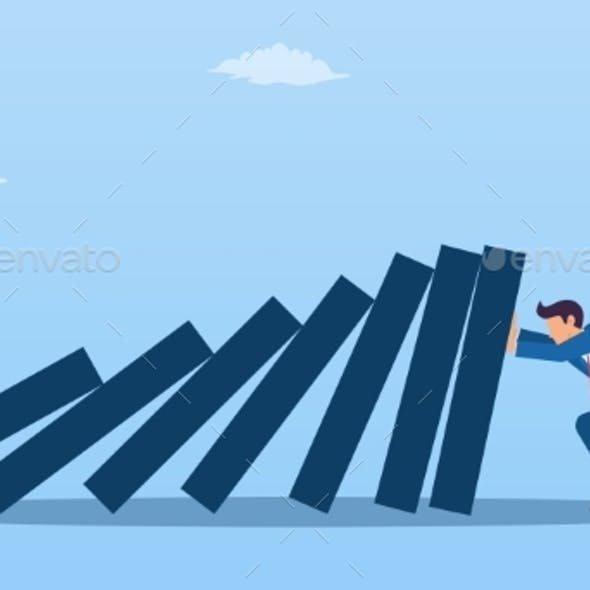 Businessman Pushing Against Falling Deck of Domino