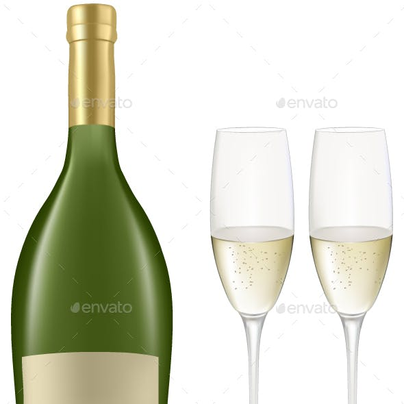 Sampen Bottle And Two Glass Vector