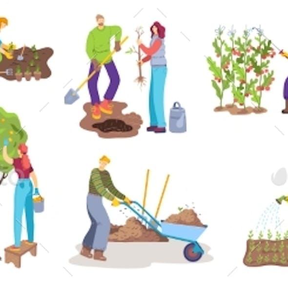 People in Gardening Activity Vector Illustration