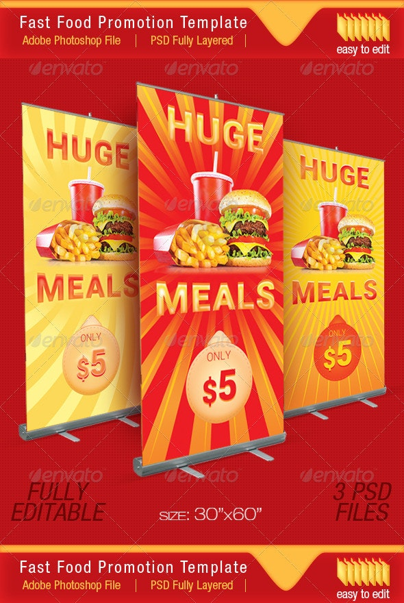 Happy Price - Fast Food Promotion Outdoor Banner - Signage Print Templates