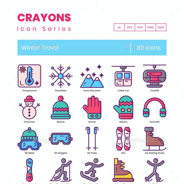 80 Winter Travel Icons - Crayons Series
