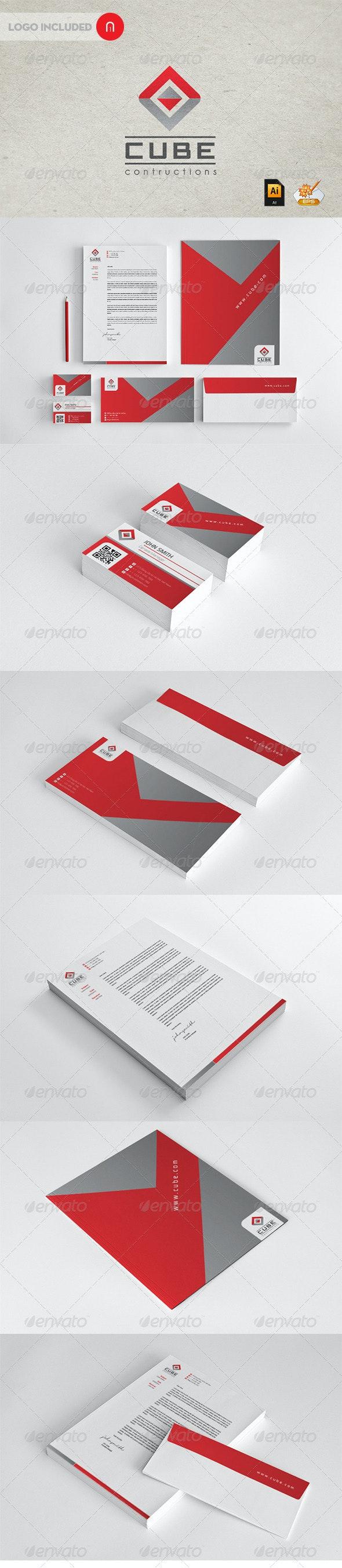 Stationary & Identity - Cube contructions - Stationery Print Templates