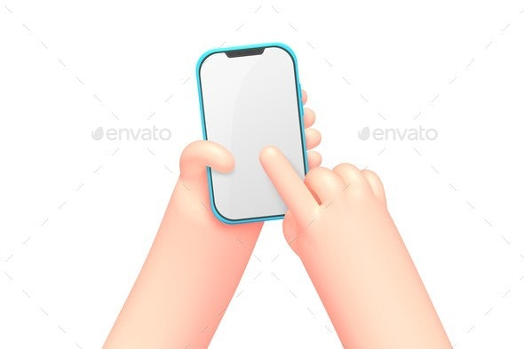 Vector Cartoon Hands with Smart Phone Scrolling - Miscellaneous Vectors