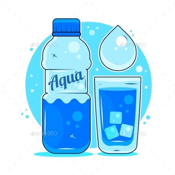 Fresh Spring Water, Sticker, Logo, Poster, Icon